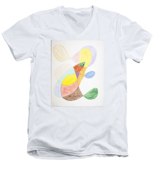 Men's V-Neck T-Shirt featuring the painting Windy  by Stormm Bradshaw