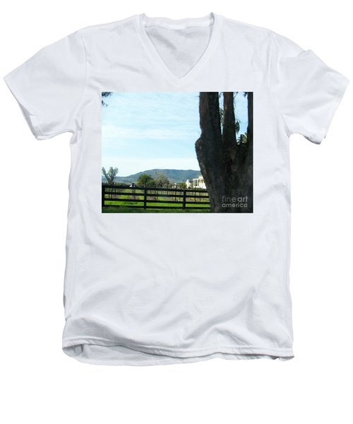 Men's V-Neck T-Shirt featuring the photograph Winery by Bobbee Rickard
