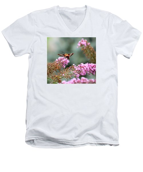 Men's V-Neck T-Shirt featuring the photograph Wings In The Flowers by Kerri Farley