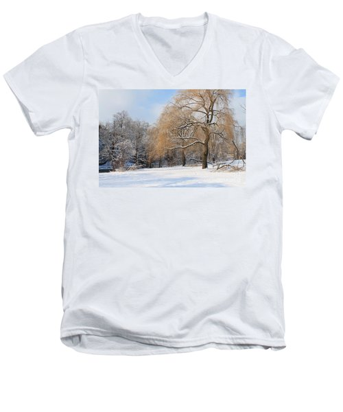 Winter Along The River Men's V-Neck T-Shirt by Nina Silver