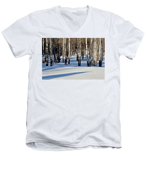 Men's V-Neck T-Shirt featuring the photograph Winter Aspens by Jack Bell