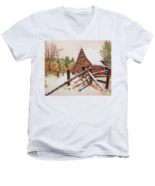 Winter - Barn - Snow In Nevada Men's V-Neck T-Shirt by Jan Dappen