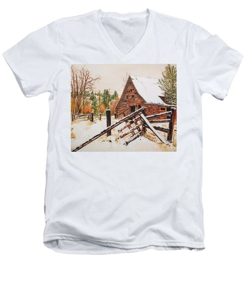 Winter - Barn - Snow In Nevada Men's V-Neck T-Shirt
