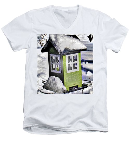 Men's V-Neck T-Shirt featuring the photograph Winter Birdfeeder by Nina Silver