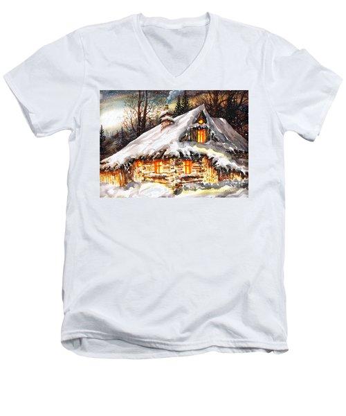 Winter Cottage Men's V-Neck T-Shirt