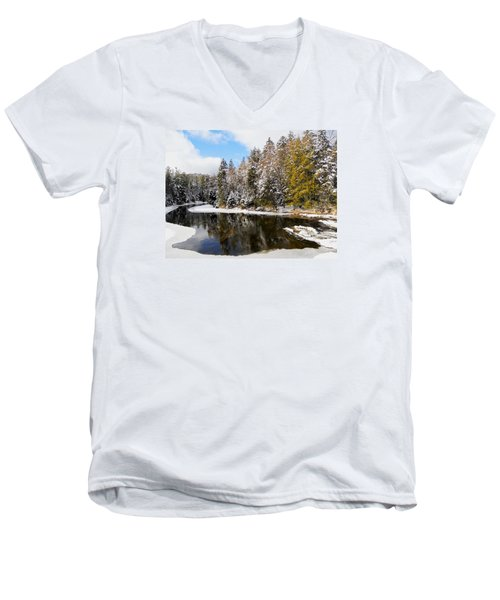 Men's V-Neck T-Shirt featuring the photograph Winter Impressions ... by Juergen Weiss