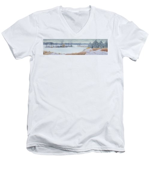 Winter Lake And Cedars Men's V-Neck T-Shirt
