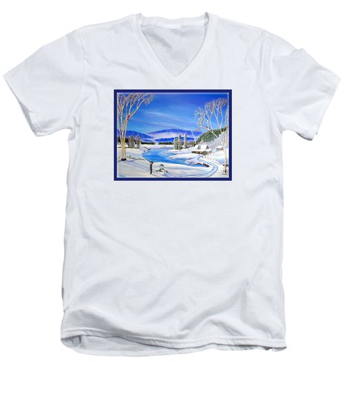 Winter Magic At A Mountain Getaway Men's V-Neck T-Shirt