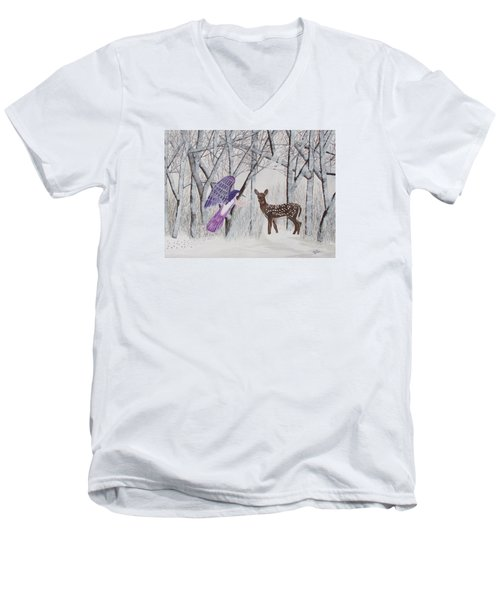 Men's V-Neck T-Shirt featuring the painting Winter Magic by Cheryl Bailey