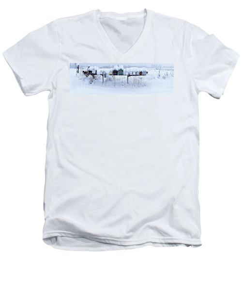 Men's V-Neck T-Shirt featuring the photograph Winter Mailbox Panorama by Sean Griffin