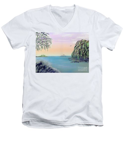 Winter On Lake Ponchartrain Men's V-Neck T-Shirt by Alys Caviness-Gober