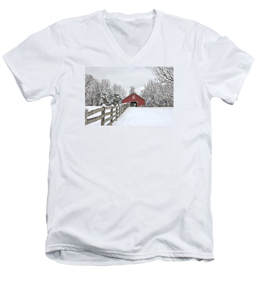 Winter On The Farm Men's V-Neck T-Shirt by Benanne Stiens