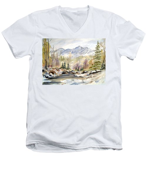 Men's V-Neck T-Shirt featuring the painting Winter On The River by Dorothy Maier