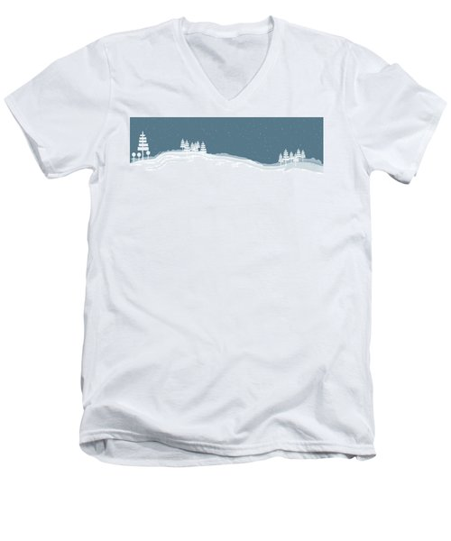 Winter Pines Men's V-Neck T-Shirt by Kevin McLaughlin