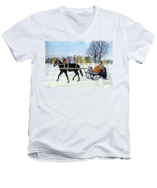 Winter Sleigh Ride Men's V-Neck T-Shirt by Carol Flagg