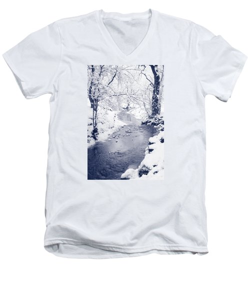 Men's V-Neck T-Shirt featuring the photograph Winter Stream by Liz Leyden