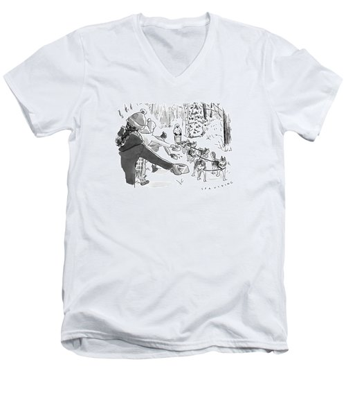 Winter Suited Volunteers Hold Out Dog Dishes Men's V-Neck T-Shirt