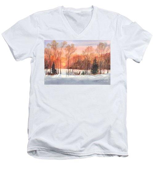 A Hedgerow Sunset Men's V-Neck T-Shirt by Carol Wisniewski
