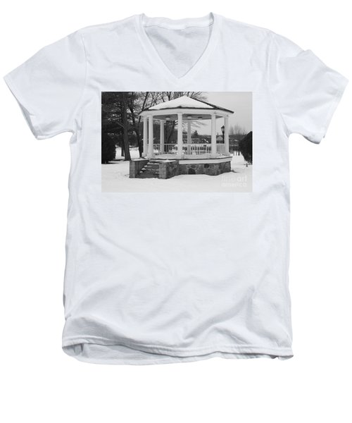 Men's V-Neck T-Shirt featuring the photograph Winter Time Gazebo by John Telfer