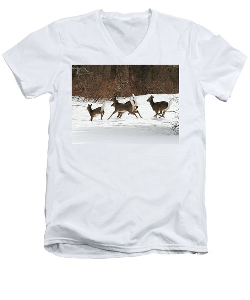 White Tailed Deer Winter Travel Men's V-Neck T-Shirt