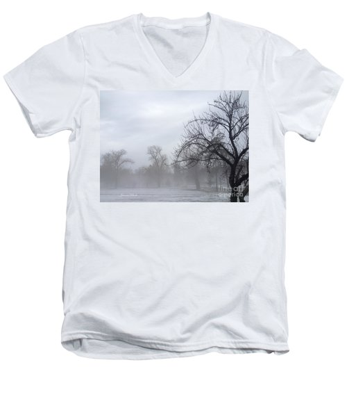 Men's V-Neck T-Shirt featuring the photograph Winter Trees With Mist by Jeannie Rhode