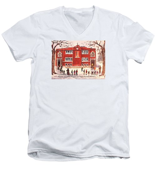 Winter Vacation Begins For Saint Pierre's School Men's V-Neck T-Shirt by Rita Brown
