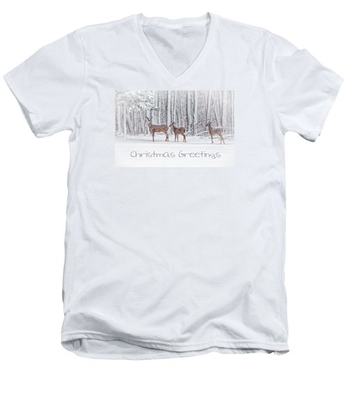 Winter Visits Card Men's V-Neck T-Shirt by Karol Livote