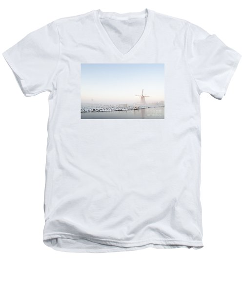 Winter Windmill Landscape In Holland Men's V-Neck T-Shirt by IPics Photography
