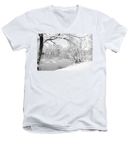 Winter Wonderland In Black And White Men's V-Neck T-Shirt