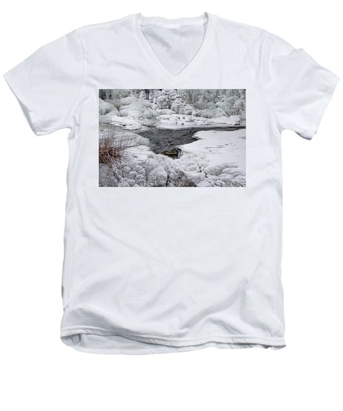 Men's V-Neck T-Shirt featuring the photograph Vermillion Falls Winter Wonderland by Patti Deters