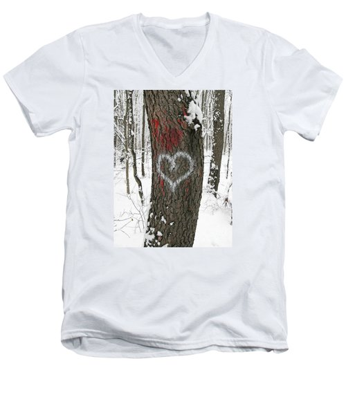 Winter Woods Romance Men's V-Neck T-Shirt by Ann Horn