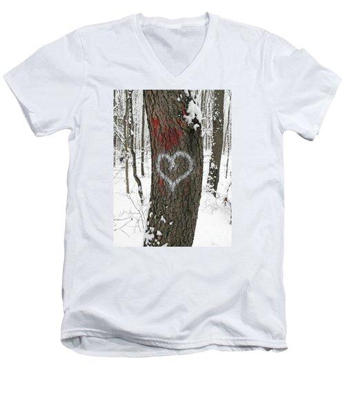 Winter Woods Romance Men's V-Neck T-Shirt