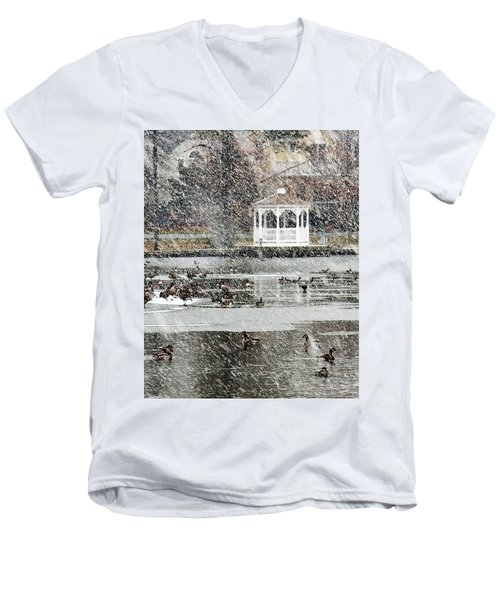Wintering Geese On Silver Lake Men's V-Neck T-Shirt