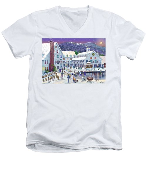 Wintertime At Waterville Valley New Hampshire Men's V-Neck T-Shirt by Nancy Griswold