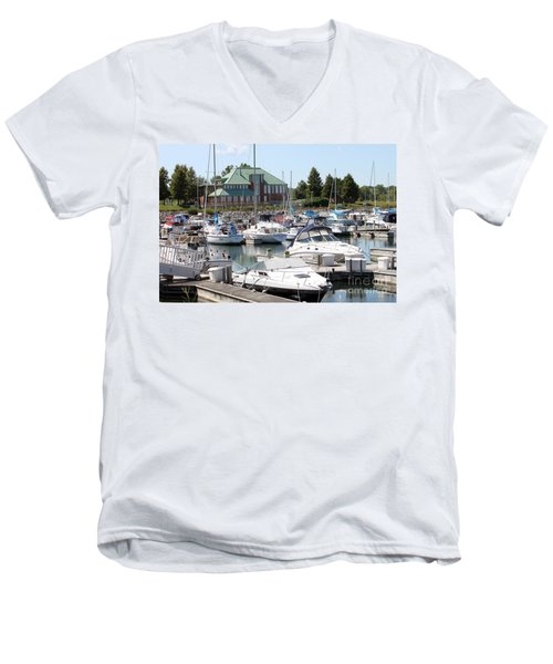 Men's V-Neck T-Shirt featuring the photograph Winthrop Harbor by Debbie Hart