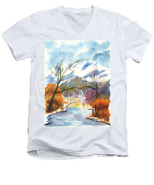 Wintry Reflections Men's V-Neck T-Shirt