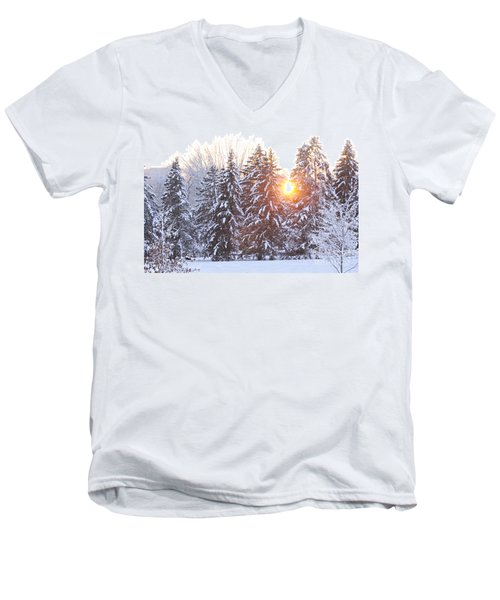 Wintry Sunset Men's V-Neck T-Shirt