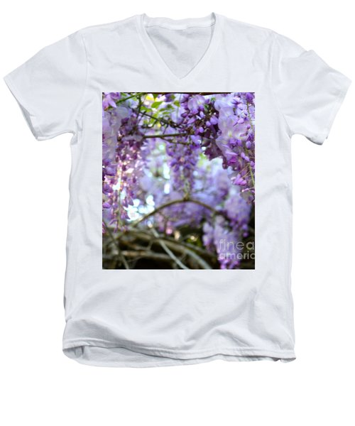 Men's V-Neck T-Shirt featuring the photograph Wisteria Dream by Cathy Dee Janes
