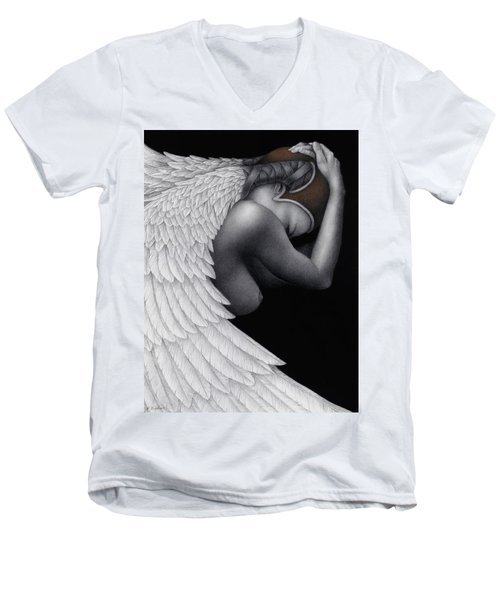 Men's V-Neck T-Shirt featuring the painting Withdrawal by Pat Erickson