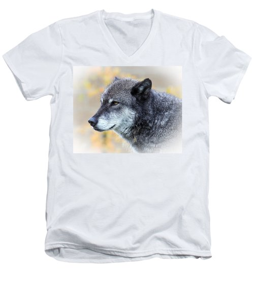 Men's V-Neck T-Shirt featuring the photograph Wolf by Steve McKinzie