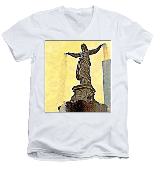 Woman And Flowing Water Sculpture At Fountain Square Men's V-Neck T-Shirt