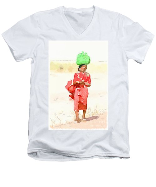 Woman Bag Men's V-Neck T-Shirt