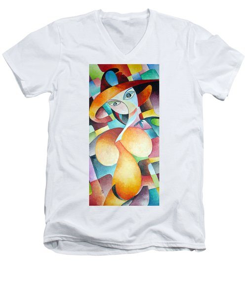 Men's V-Neck T-Shirt featuring the painting Woman by Dorothy Maier