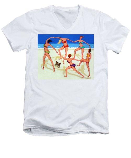 Women Dancing On Beach - Happy Dance Men's V-Neck T-Shirt by Rebecca Korpita