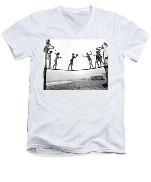 Women Play Beach Basketball Men's V-Neck T-Shirt by Underwood Archives