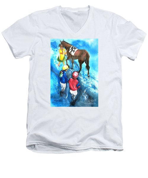 Men's V-Neck T-Shirt featuring the painting Giddy Up Girls by Therese Alcorn