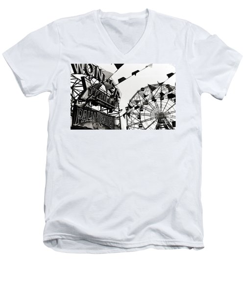 Wonder Wheel Men's V-Neck T-Shirt by Madeline Ellis