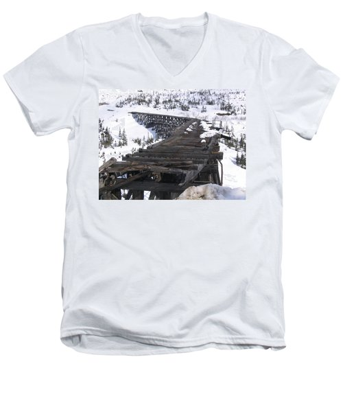 Men's V-Neck T-Shirt featuring the photograph Wood Bridge by Brian Williamson