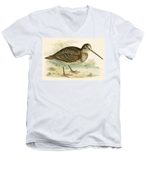Woodcock Men's V-Neck T-Shirt by Beverley R Morris