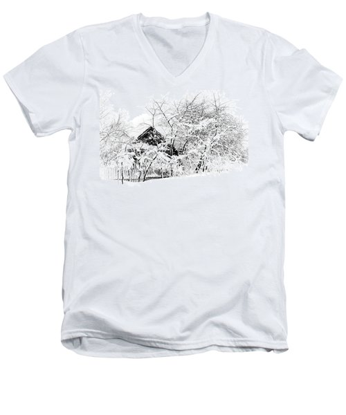 Wooden House After Heavy Snowfall. Russia Men's V-Neck T-Shirt